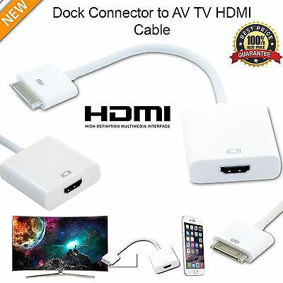 New 1080P Dock Connector to HDMI TV Adapter Cable Lead For iPhone 4s & iPad 2 3