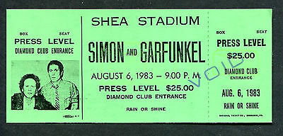 Simon and Garfunkel 1983 Unused Concert Ticket Shea Stadium The Sound of Silence