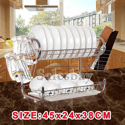 High Quality Chrome - Plated Steel 2 Layers Dish Rack