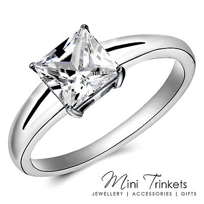 925 Silver Plated Cubic Zirconia Princess Square Promise Womens Engagement Ring