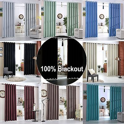 Ring Top Thermal Blackout Curtains Pairs Energy Saving Ready Made Eyelet Curtain