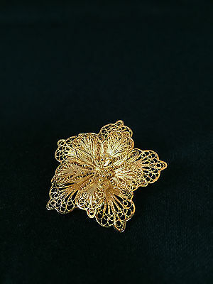 Sterling Silver Gold Plated Filigree Five Petal Flower Pin