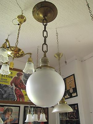 Antique Industrial Pendulum Light W/ Porcelain Socket & Frosted Shade (3236)