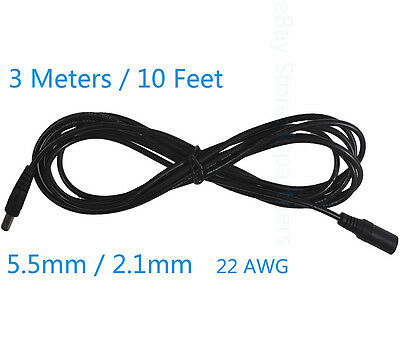 3 Meters 10 Feet DC 12V Power Extension Cable Cord for CCTV Cameras 5.5mm* 2.1mm