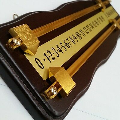 Curved Wooden Snooker Billiards SCOREBOARD - WALNUT with BRASS Pointers and Rail