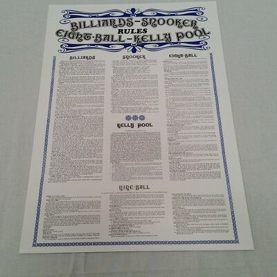 Table RULE POSTER for Snooker Pool Billiards 9 Ball