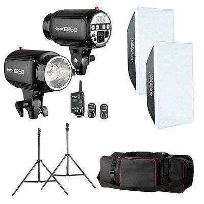 Godox 500W 2x 250W Digital Studio Flash Lighting Photography Strobe Light Kit
