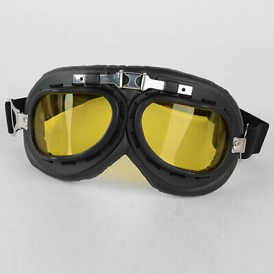 Yellow Lens with Black Frame Folding Motorcycle Goggles Glasses Eyewear