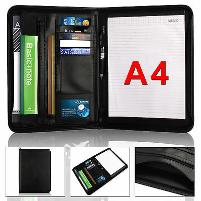 A4 Black Executive Conference Folder PU Portfolio Zipped Leather Look Organiser