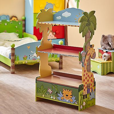Childrens Sunny Safari animals Book Case Kids Wooden Bookcase Storage Drawer