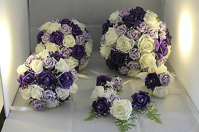 BRIDAL BOUQUET FLOWER PACKAGE PURPLE IVORY LILAC  12 pieces* 3 FREE BUTTONHOLES*