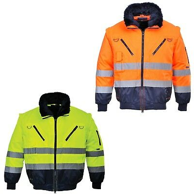 Pilot Jacket Protection Visibility Work Warning 4 in 1 Winter