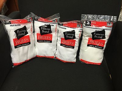 12Pk Mens White Briefs Fruit Of The Loom In Famous Brand Bag 100%cotton