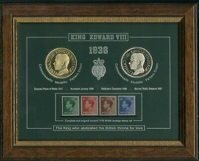 Framed King Edward VIII Abdication Crown Coin Stamp Collection Display Gift Set