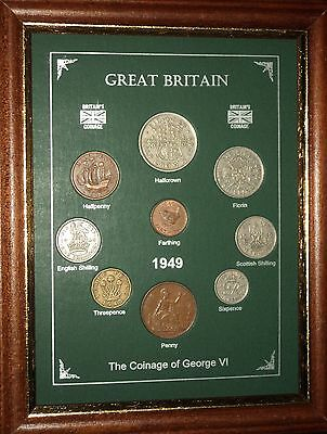 FRAMED 1949 COIN YEAR SET (RETRO 68th BIRTHDAY PRESENT WEDDING ANNIVERSARY GIFT)