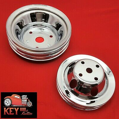 Small block Chevy chrome pulley set SBC 2 3 groove crank water Long pump 350 305