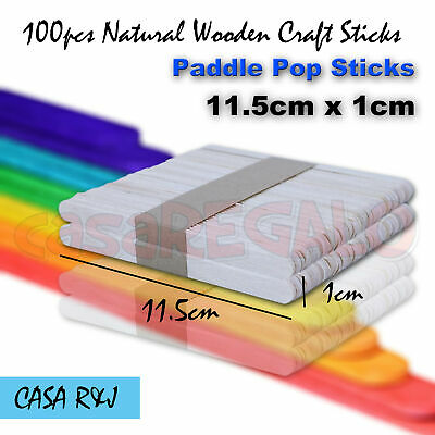 100 pc Natural Wooden Craft Sticks Paddle Pop Sticks Ice Cream 11.5cm x 1cm