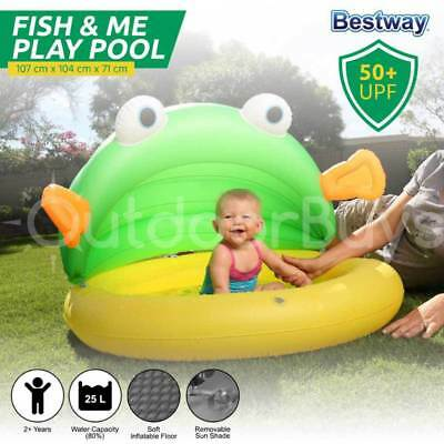 Bestway Inflatable Pool | Shaded Toddler Infant Child Kids Fish & Me Pool