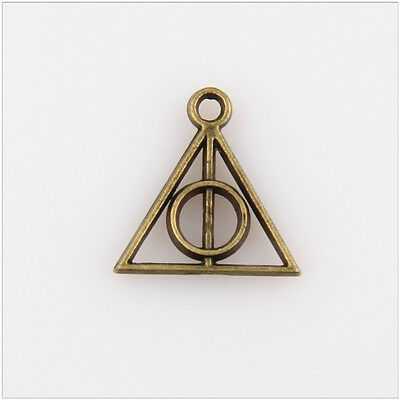 Lot Antique Silver Filigree Harry potter Deathly Hallows Charm Pendant 31x32mm
