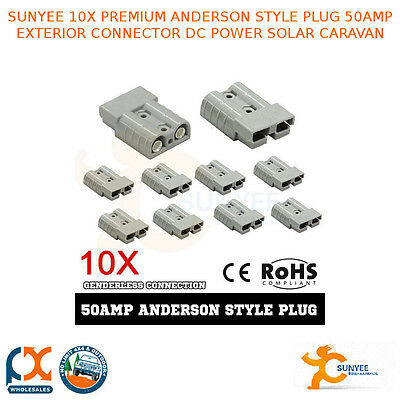 Sunyee 10X Premium Anderson Style Plug 50Amp Exterior Connector - And50Ax10