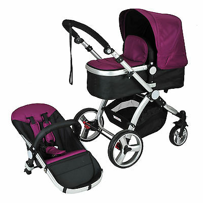 Purple 2 in 1 Aluminium Baby Toddler Pram Stroller Jogger with Bassinet 4 Wheel