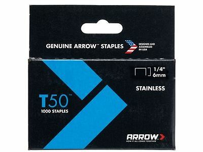 Arrow - T50 Staples Stainless Steel 504SS 6mm (1/4in) Box 1000