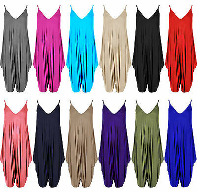 Womens All In One Jumpsuit Romper Ladies Harem Dress Baggy Plus Size 8 - 26 Cami