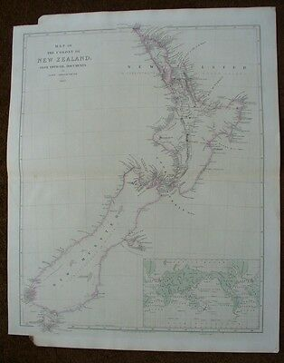 New Zealand,John Arrowsmith,1843,original antique map,
