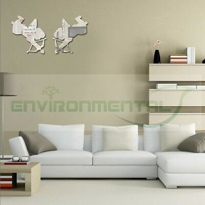 Double Love Cupid Top Acrylic Plastic Mirrors Wall Art ROOM Decal Decor Stickers