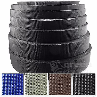 BLACK 20 25 32 38 50mm POLYPROPYLENE WEBBING STRAPPING STRAPS BAGS WEAVE