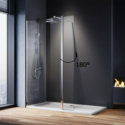 Wet Room Shower Screen Walk in Shower Enclosure Tray+Waste Return Glass Panel