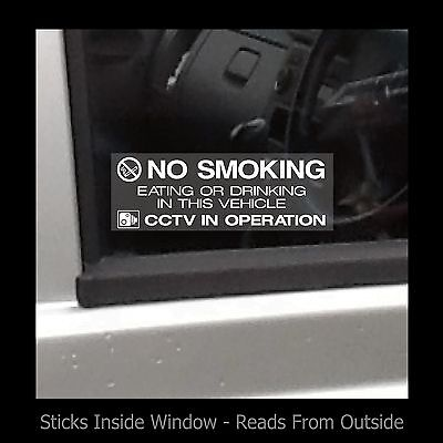 No Smoking, Eating, Drinking in Taxi  - Window Sticker / Sign - Security, Safety