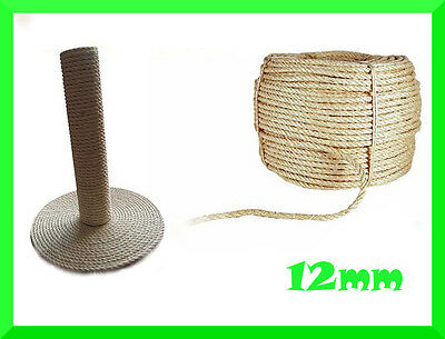 12mm Natural Sisal Rope Twisted Braided,Decking,Garden,Cat Scratching Post,Craft