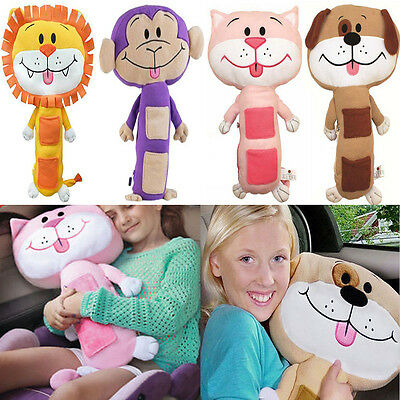 Kids Seat Belt Cover Soft Toy Pet Rest Strap Cuddle Pillow With Pocket Gift NEW
