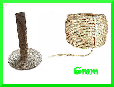 6mm Natural Sisal Rope Twisted Braided,Decking,Garden,Cat Scratching Post,Crafts