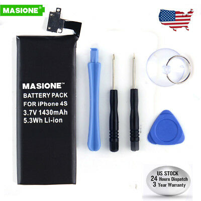 New 1430mAh Internal Replacement 3.7V Li-ion Battery + Tools For Apple iPhone 4S