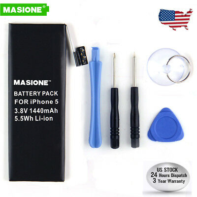 1440mAh Li-ion Internal Battery Replacement w/ Flex Cable for iPhone 5 5G +Tools