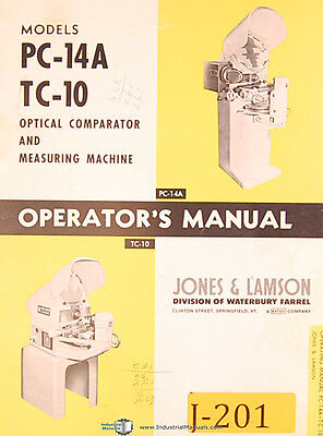 Jones & Lamson PC-14A TC-10, Optical Comparator, Operations and Maint. Manual