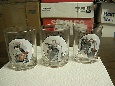 3 Vintage Norman Rockwell The Saturday Evening Post Drinking Glasses