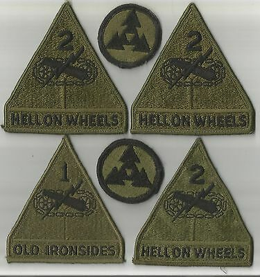 (9)PATCHES US ARMY 1ST & 2ND ARMORED DIV HELL ON WHEELS(3) & OLD IRONSIDES+MORE