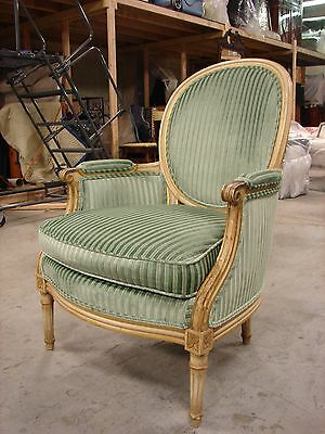 Antique Louis XVI Style Bergere , New Upholstery.