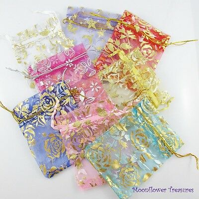10Pk Printed Mini Organza Bags Approx. 7x9cm Select from Many Designs