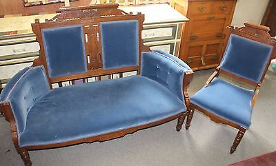 American Victorian Eastlake Parlor Set - Settee and Side Chair in Blue Velvet