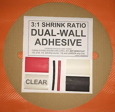 """1/4"""" / 6mm Black 50 Ft. Dual-Wall Adhesive Lined Heat Shrink Tubing 3:1 Ratio"""