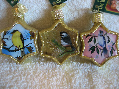 BIRDS,OLD WORLD CHRISTMAS ORNAMENT LOT OF3,INSIDE ART,NEW W/TAG,2001,MY LOT # X