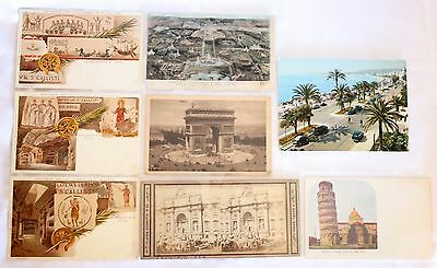 Lot of 8 Vintage Postcards of France and Italy Attractions