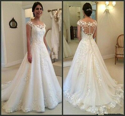 New A-line Lace White/Ivory Wedding Dress Bridal Gown Custom Size 6-8-10-12-14++