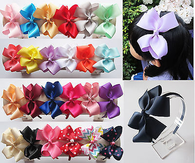 5 inch Large Grosgrain Bowknot Boutique Bow Aliceband Alice Headband Band
