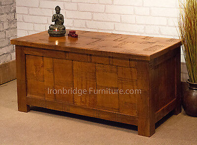 Clermont Rough Cut Solid Mango Wood Trunk Shoe Box Bench With Fiddes Wax Finish