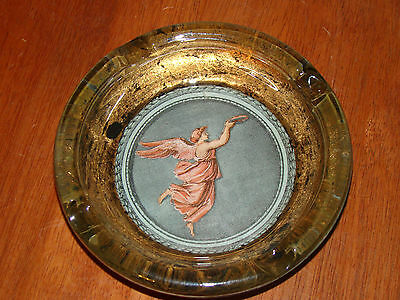 """Vintage Glass Ashtray With Angel Design - 6"""" Wide"""